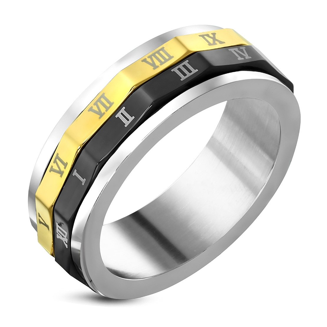 Stainless Steel 3 Color Roman Numeral Spinning Band Ring