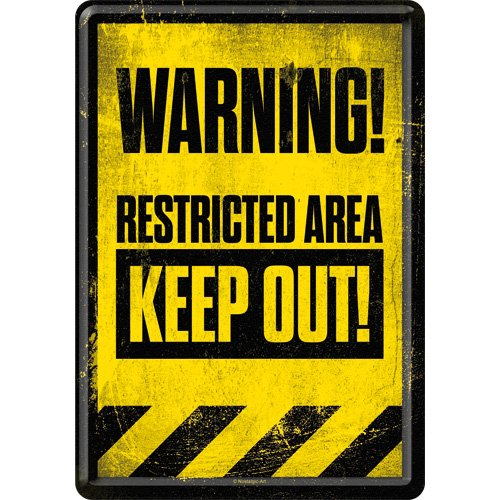 Nostalgic-Art 10263 Achtung Restricted Area Keep Out! Blechpostkarte 10x14 cm