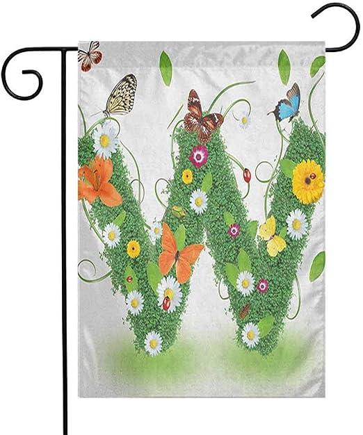 Bandera de jardín Fickdle Charming, letra V, se puede usar en cualquier clima, 12 pulgadas de