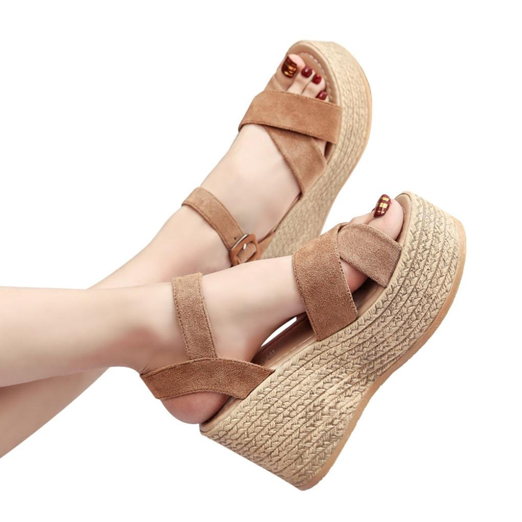 Wedge Sandals,Solid Bohemia Peep Toe High Heels Thick Bottom Flatform Shoes Jushye (37, Brown)