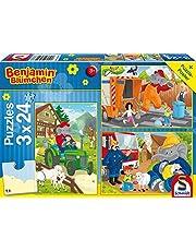 Schmidt Games Benjamin the Elephant Puzzle 56207, blauw, in actie, 3 x 24 delen