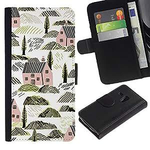 Casas Arquitectura Rocas Naturaleza- la tarjeta de Crédito Slots PU Funda de cuero Monedero caso cubierta de piel ParaSamsung Galaxy S3 MINI i8190 (NOT S3)
