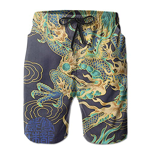 Men's Cool Chinese Dragon Purple Quick Dry Swim Trunks Beach Shorts Pants with Mesh Lining for Men ()