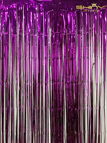 Foil Fringe Skirt-3FTx8FT--Metallic Foil Fringe Curtain /Photo Backdrop/Hanging Tinsel for Window Curtain (Fuchsia) (Door Streamers Curtain)