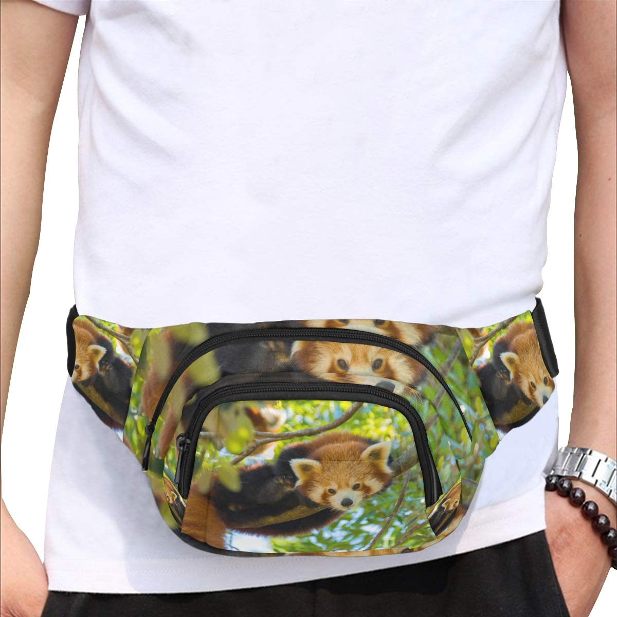 Beautiful Cute Red Panda Animal Fenny Packs Waist Bags Adjustable Belt Waterproof Nylon Travel Running Sport Vacation Party For Men Women Boys Girls Kids