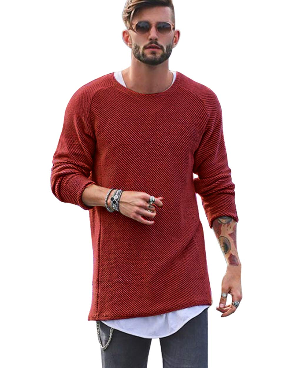 The Aron ONE Men's Fashion Casual Slim Knitted Long Sleeve Round Neck Hip-Hop Solid Color Pullover Sweater Jumper T-Shirt Tops