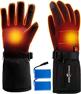 ROCKPALS Electric Heated Gloves with Battery for Men and Women, Rechargeable Hand Warmer Gloves Water-Resistant, Touchscreen Texting Thermal Heat Gloves for Skiing Cycling Riding Hunting Fishing