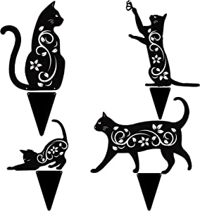 Elcoho 4 Pack Bird Repellent Cat Black Cat Silhouette Metal Cat Decorative Garden Stakes Garden Outdoor Statues Animal Stakes for Yard