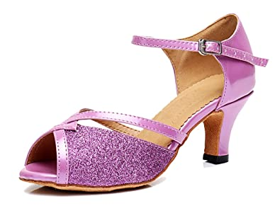 d6cdade635 TDA LD0198 Womens Ankle Strap Glitter Synthetic Latin Modern Samba Rumba  Wedding Dance Shoes 4 M