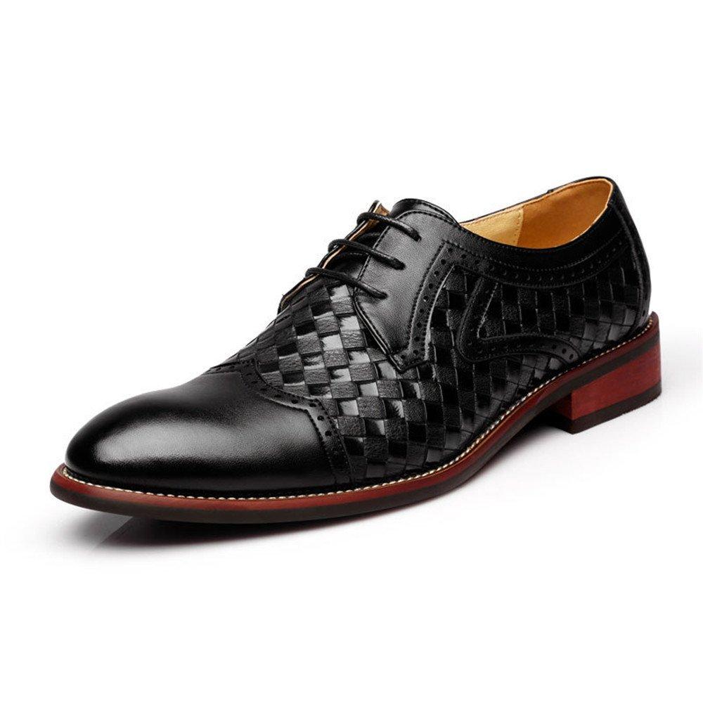 TYAW-Herrenschuhe Schuhe Leder schwarz Runden Kopf Gitter Farbe schwarz Leder 87cb5e