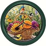 """Mark Feldstein & Associates Rosemary Millette Summer Bouquet Clock with Original Bird Sounds, 8"""""""