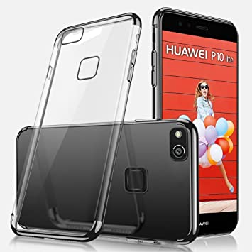 Uposao Kompatibel mit Huawei P10 Plus H/ülle Plating TPU Case mit /Überzug Farbig Rahmen H/ülle Silikon H/ülle Anti-Shock Kratzfest Ultra D/ünn TPU Bumper Case,Schwarz