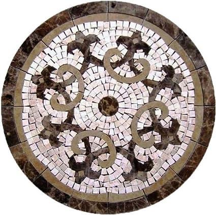 Tile Floor Medallion Marble Mosaic Fleur de Lis Design 30 ...