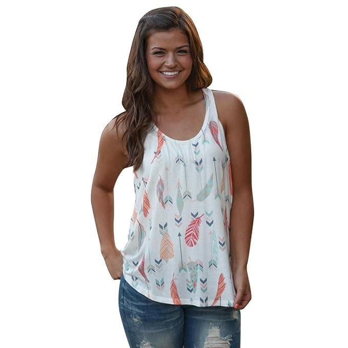 OverDose Mujeres Tops chaleco Pluma Printed Sleeveless Shirt Blusa Casual Tank T-Shirt (S