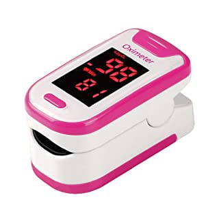 Zyan Fingertip Pulse Oximeter Oximetry Blood Oxygen Saturation Monitor with batteries and lanyard (Pink)