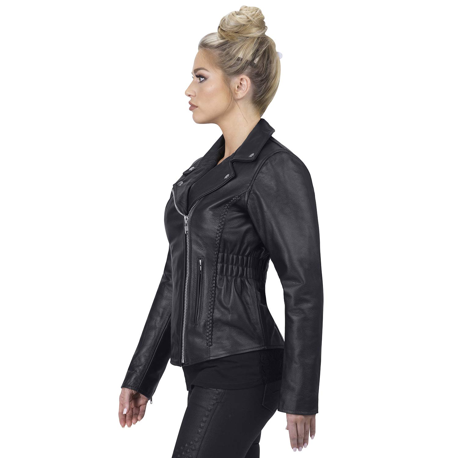 dffdac8ca Viking Cycle Cruise Premium Grade Cowhide Leather Motorcycle Jacket for  Women