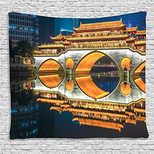Bedroom Living Room Dorm Elastic fabric Wall Hanging Tapestry Apartment Decor Collection Major Popular Big Bridge in Chinese City Monumental Classical Building Tower Photo Golden (Major Egyptian Gods)