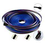 TronicsPros 10m RGB LED Strip Extension Cable 4 Pin LED Strip Connector LED Tape Light Extension Cord LED Ribbon 4 Wire Cable for SMD 5050 3528 2835 LED Strip or Other Devices