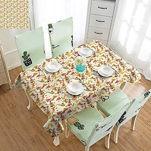 - DILITECK Stain-Resistant Tablecloth Jazz Music Pattern with Horn Drum Guitar and Fiddlestick Folk Music Ensemble Instruments Soft and Smooth Surface W52 xL70 Multicolor