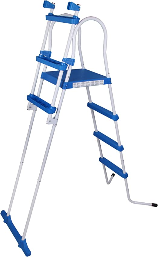 Blueborn Escalera de Piscina SPL122, Escalera de Seguridad, Escalera de Entrada para Piscina, Escalera de 122 cm de Altura de Pared, Color Blanco: Amazon.es: Jardín