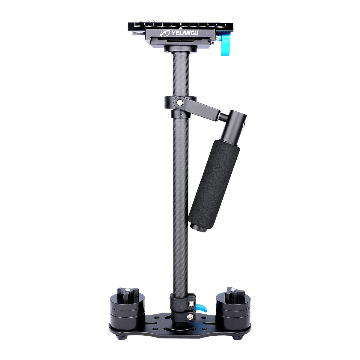 YELANGU Carbon Fiber 24''/60cm Handheld Stabilizer with 1/4'' and 3/8'' Screw for DSLR and Video Cameras up to 6.6lbs/3kg(Black)