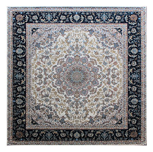 Masada Rugs, Traditional Floral Square Area Rug, Non Slip Backing, Washable (6 Feet 7 Inch X 6 Feet 7 Inch) Square
