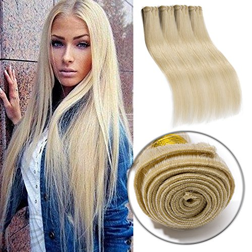 #60 Platinum Blonde Human Hair 3 Bundles 300g Straight Unprocessed Brazilian Virgin Human Hair Sew in Extensions for Women Wavy Curly Hair Weave 20""