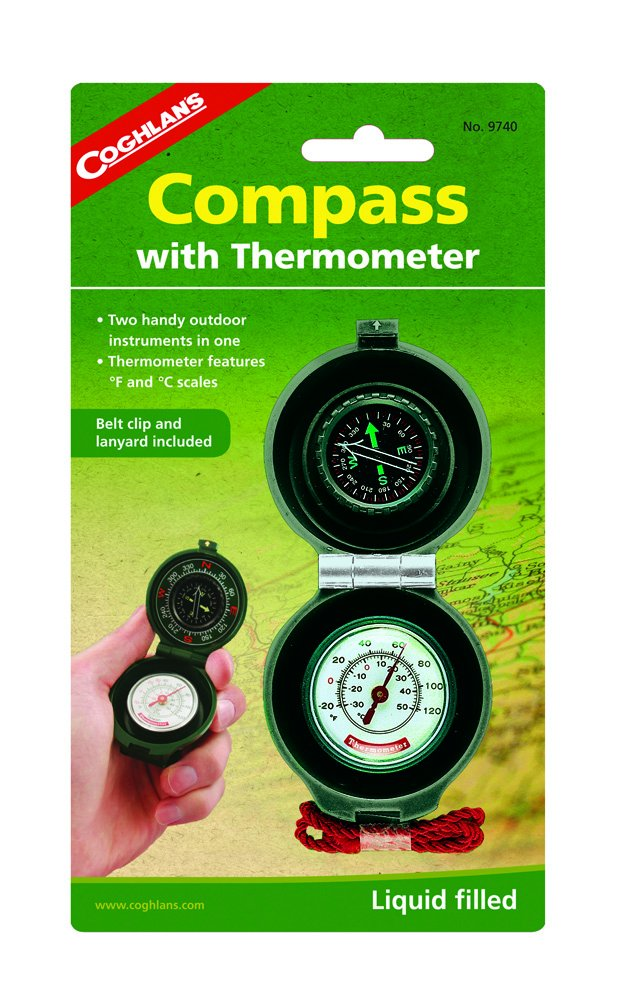Coghlans Compass Thermometer Thermometer Compass - Brújula, color negro 1f1695