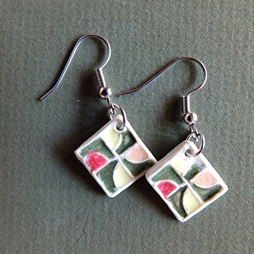 Quilt Block Earring, Drunkards Path Design in Greens, Red, Orange and - The Block County Orange