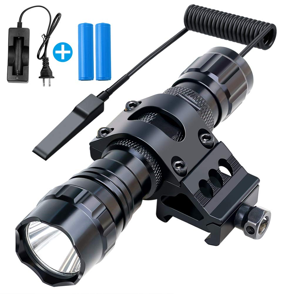 Fyland Tactical Flashlight, 1200 Lumens LED Flashlight with Picatinny Rails Mount Included Rechargeable Batteries Pressure Switch, Waterproof Small Flashlight for Outdoor Hiking by Fyland