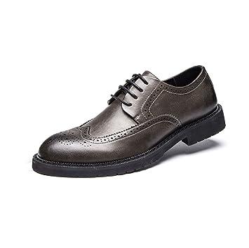 LYZGF Hommes Jeunes Printemps Et Automne Affaires Loisirs Mode Dentelle Chaussures En Cuir,Black-39