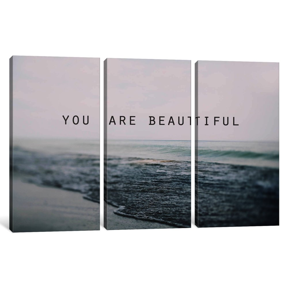 60 x 40//0.75 Depth iCanvasART 3 Piece You are Beautiful Canvas Print by Alicia Bock