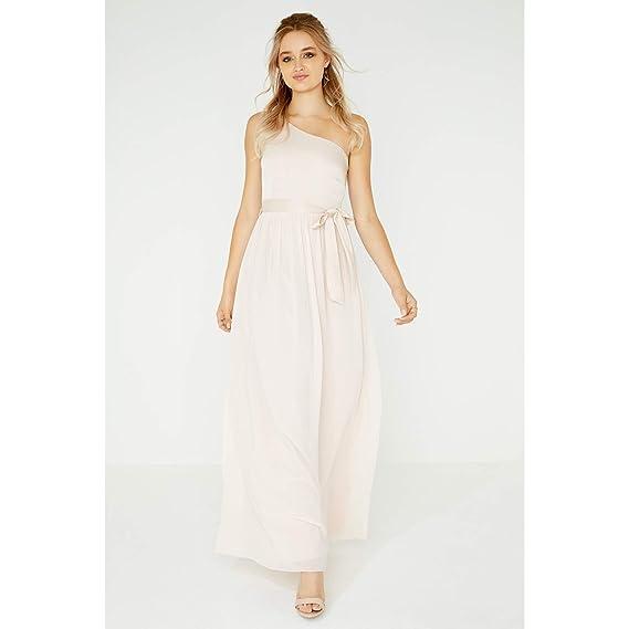 d49eb7e4b5e Little Mistress Womens Ladies Pearl One Shoulder Satin Top Maxi Dress   Amazon.co.uk  Clothing