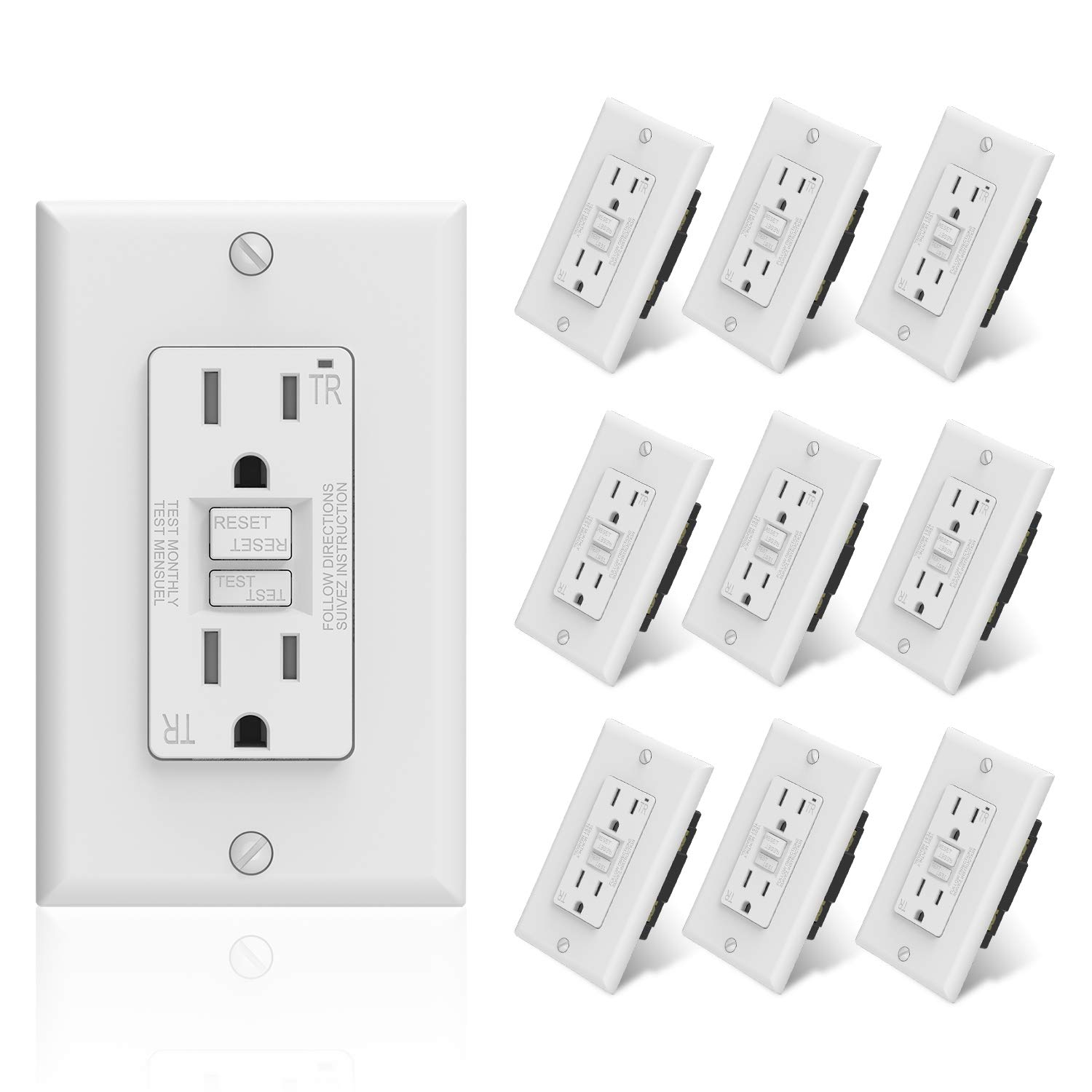 Wall Plate Included Self-Test Ground Fault Circuit Interrupters 10 Pack ELEGRP 15 Amp GFCI Outlet TR Tamper Resistant with LED Indicator 5-15R Narrow Design GFI Dual Receptacle White UL Listed