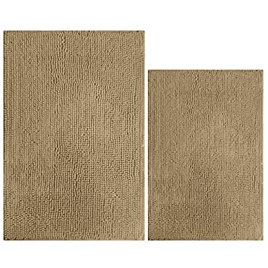 South Coast SC-PCR-TA 2 Piece Bathroom Rug Set (Rectangle Mat & Toilet Rug), Tan