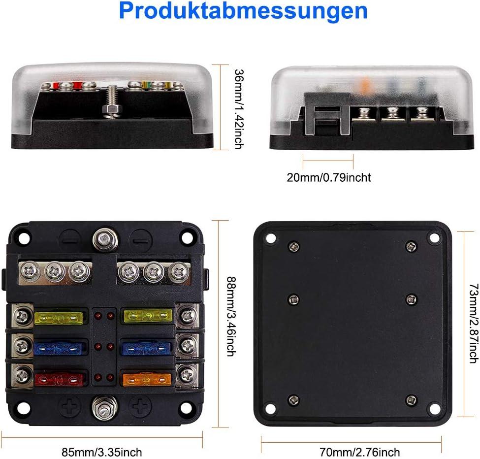 Wasserdicht Sicherungsblock Mit LED Anzeige Camper PKW 8 Fach ...