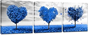 Innopics 3 Piece Romantic Love Tree Canvas Wall Art Blue Heart Shaped Printed Painting Black and White Sky Picture Print Contemporary Framed Artwork Modern Home Decor Office Bedroom Wall Decoration