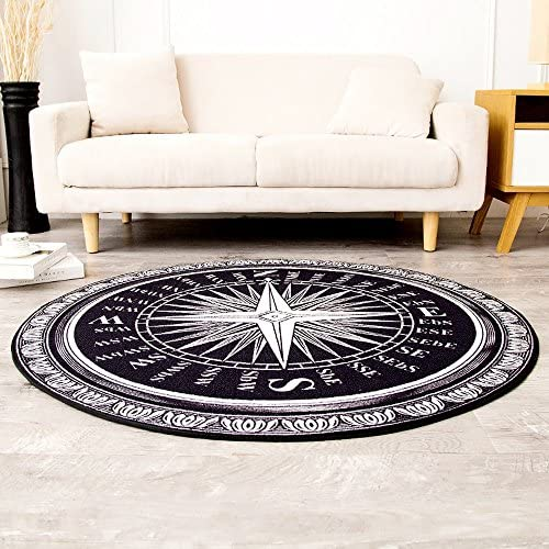 Wolala Home Fashion Creative Compass Round Rug and Carpet Black and White Area Rugs Large 5 Feet Thin 5 0x5 0