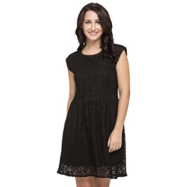 e7f22edb82 Life by Shoppers Stop Womens Round Neck Lace Skater Dress  (204085663 Black 42)