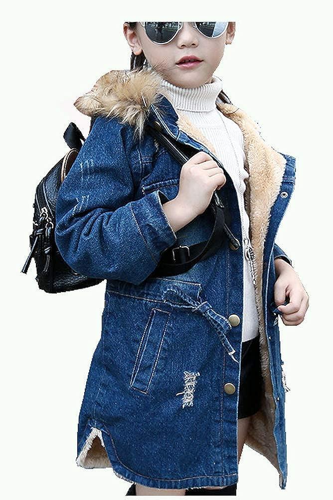 Cystyle Winter Kinder M/ädchen Fleece Gef/üttert Langarm Denim Jeansjacke Jacket /Übergangsjacke mit Kapuze