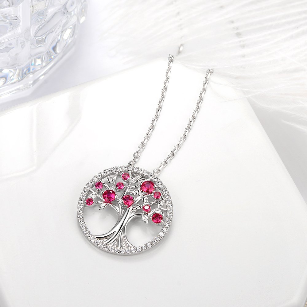 July Birthstone Created Ruby Necklace The Tree of Life Pendant Jewelry Birthday Anniversary Gift for her Wife Family Sterling Silver by Elda&Co (Image #4)