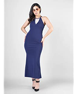 G&M collections Women's Poly Cotton Sleeveless Sheath Dress (Blue, Large)