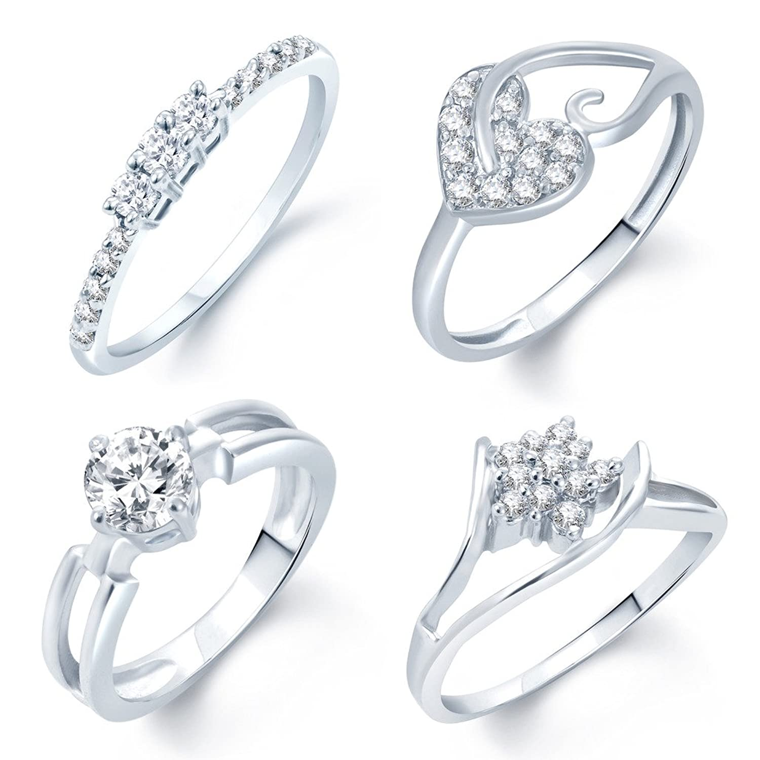 Buy Sukkhi Incredible Rhodium Plated Set Of 4 CZ Ring Combo For ...