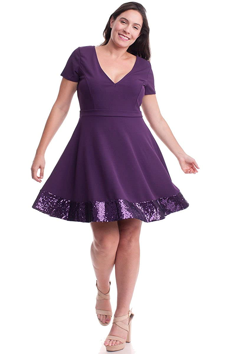 29867d7b0fd Nyteez Women s Plus Size Purple Party Dress with Sequin Hemline (1X) at  Amazon Women s Clothing store
