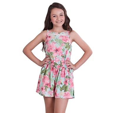d86af664c Amazon.com  Pulla Bulla Big Girl Floral Romper Sleeveless Jumpsuit ...
