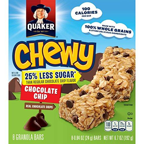 Quaker Chewy Granola Bars, 25% Less Sugar Chocolate Chip, 8 ()