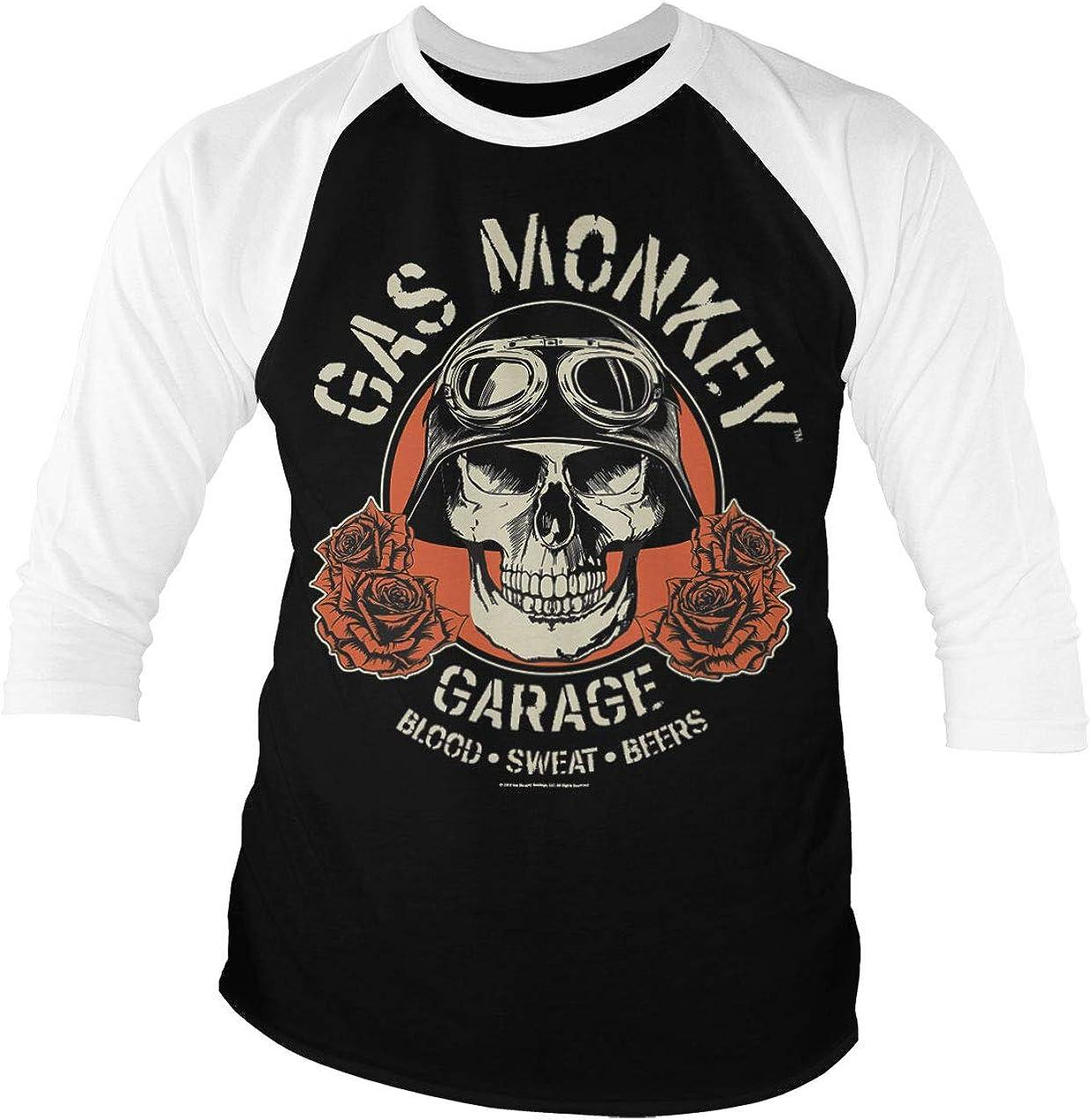 Gas Monkey Garage Licenciado Oficialmente Skull Baseball Camisa de Manga 3/4 para Hombre (Negro-Blanco): Amazon.es: Ropa y accesorios