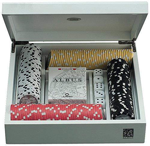 Juego Albus Unicorno - Poker Set I Pokerkoffer ink. Pokerkarten Kartenspiel Deck I 176 Poker Chips I Würfel I Gesellschaftsspiel - Weiss