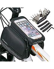 Ciclismo Pannier bolsa de teléfono celular, WOTOW Bike delantero de tubo de pantalla táctil de la silla de montar bolsa de rack Mountain Road bicicleta paquete de doble bolsa bolsas de teléfono para el teléfono