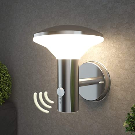 Nbhanyuan Lighting Led Outdoor Wall Light Fixtures With Motion Sensor Exterior Wall Sconce Acrylic Stainless Steel Weatherproof 3000k Warm Light Front